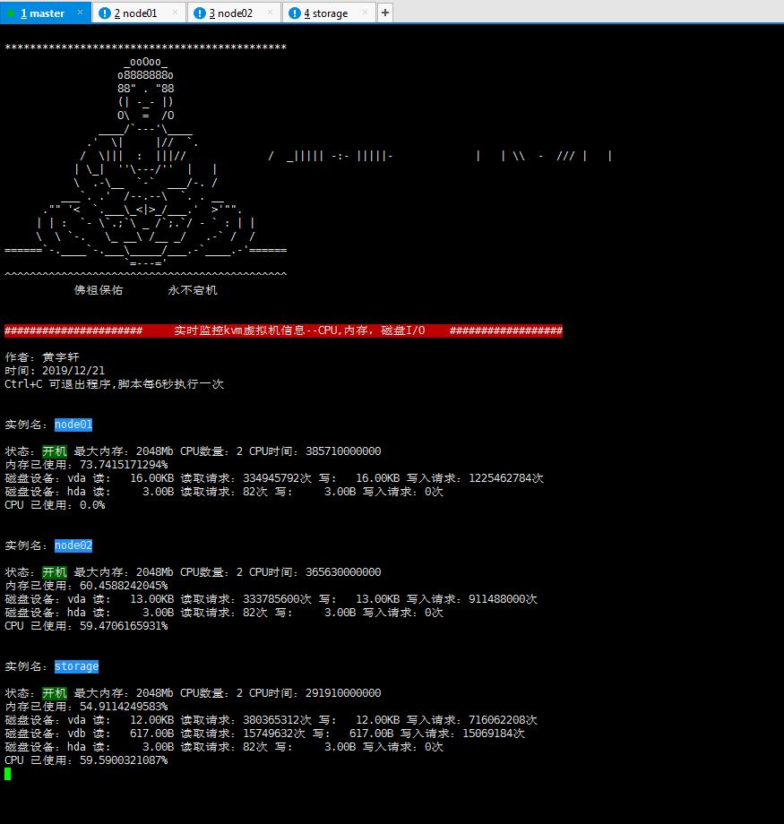 Python脚本监测KVM虚拟机 CPU、内存、io使用率